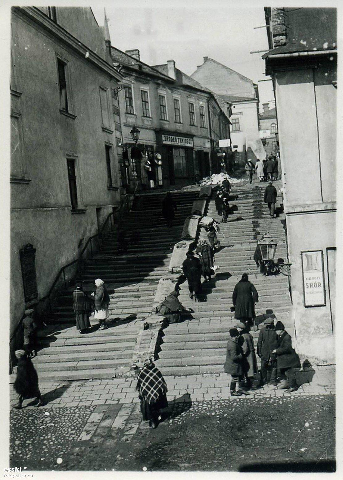 Ul Wielkie Schody Schodowa Tarnow 1940 Rok Stare Zdjecia